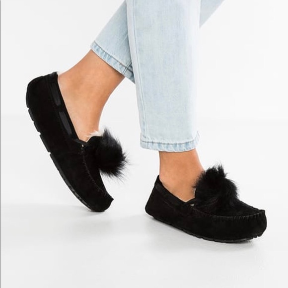 ded16a3718a Ugg Dakota slippers black Pom Pom NWT